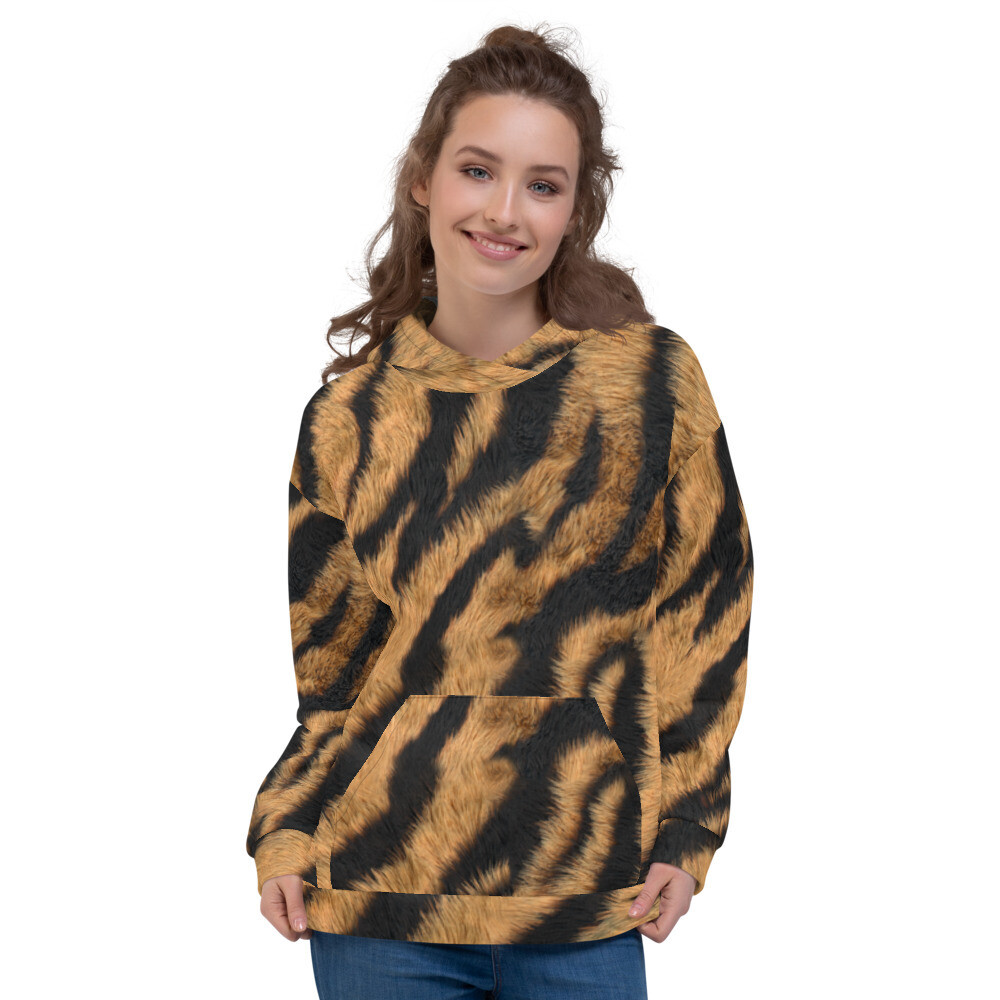 Big Lion Fur Look Printed Unisex Hoodie