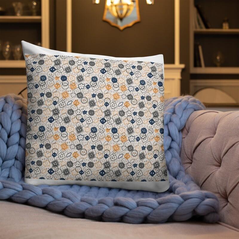 Button Full Printed Premium Pillow