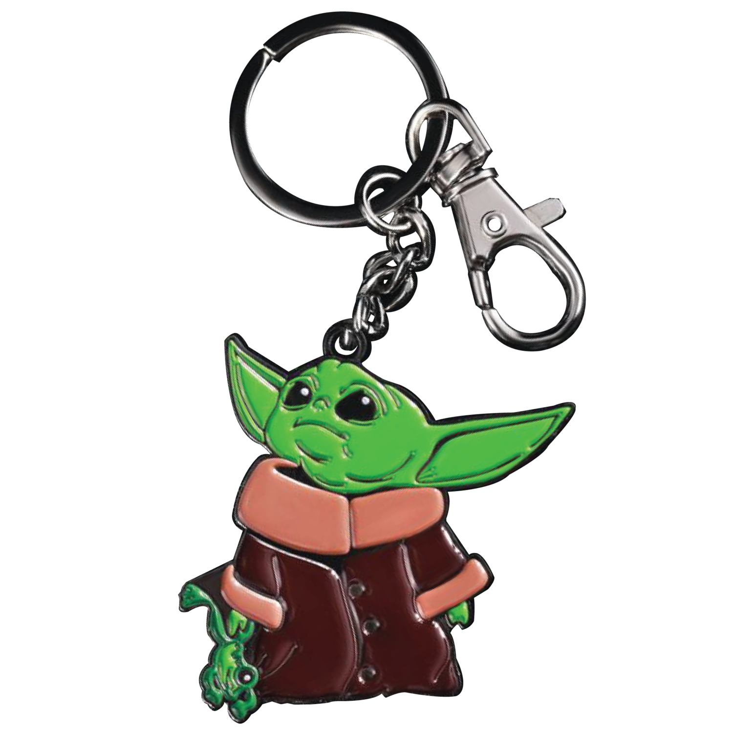 "MyPrintOn Baby Yoda 2"" with Frog Soft Enamel Nickle Plated Key-Chain with Snap Hook The Child Character from The Star Wars Disney Television Series The Mandalorian"