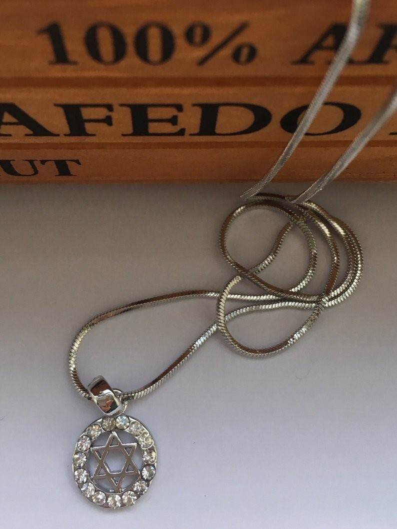 Jewish Star of David Pendant Necklace for Women Silver Crystal Jewelry 00087