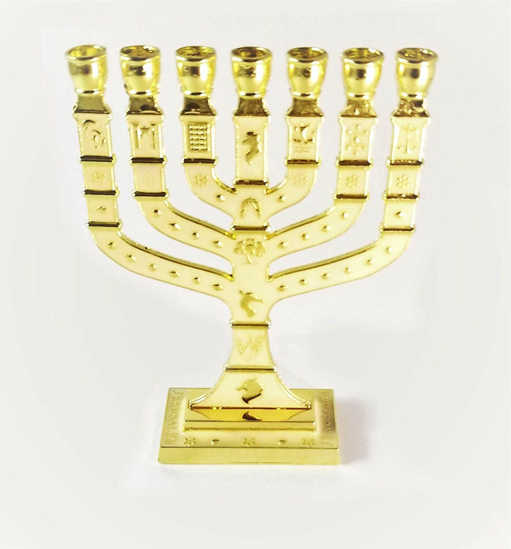 Miniature Gold Enameled Jewish Menorah 7 Branch 00099