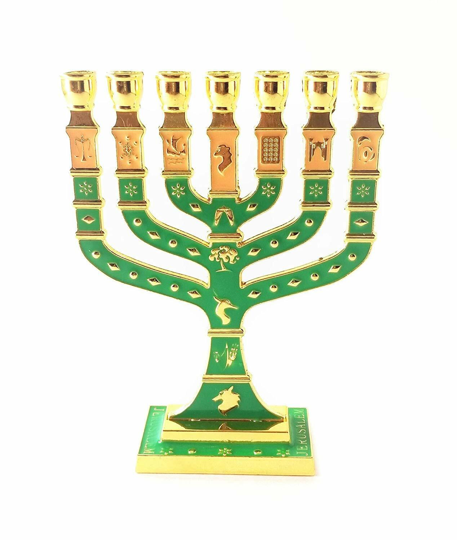 Miniature Gold Enameled Jewish Menorah 7 Branch 00100