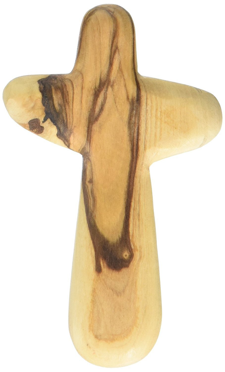 Holding Cross will fit in your Palm known as Olive wood Comfort Holding Cross with Velvet gift bag - Authentically from Bethlehem (4 inches) 00016