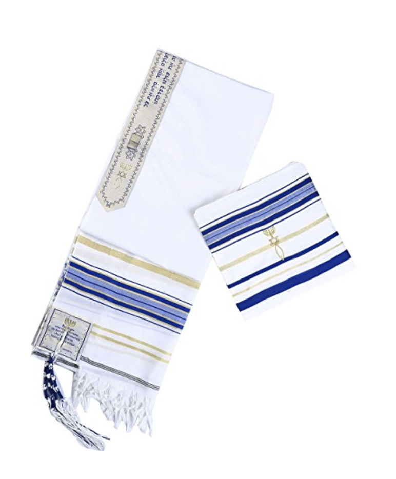 Royal blue and Gold New Convenant Messianic Tallit Prayer Shawl with Matching bag by Star Gifts TM 00019