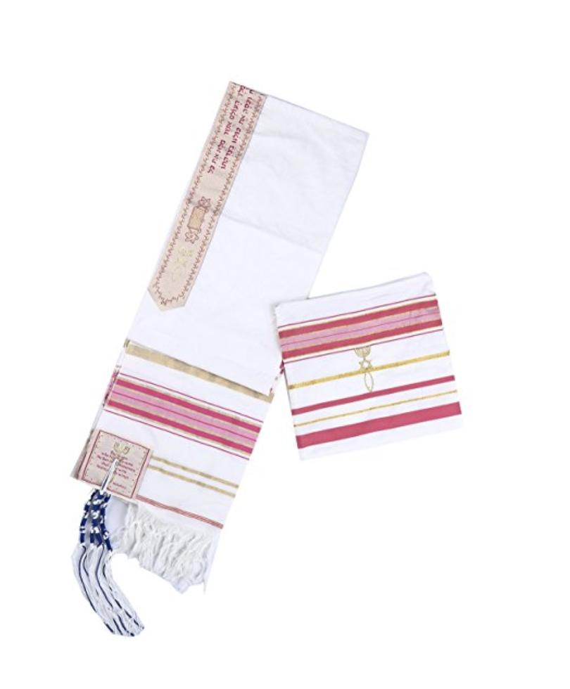 Pink New Convenant Messianic Tallit Prayer Shawl with Matching Bag 00018