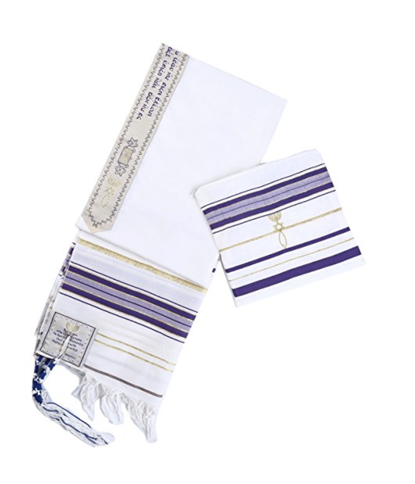 Purple New Convenant Messianic Tallit Prayer Shawl with Matching bag by Star Gifts 00020
