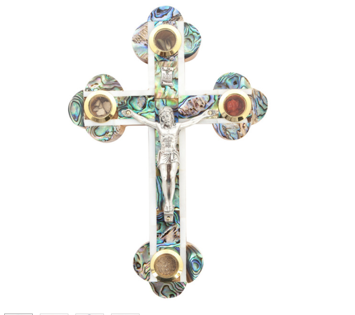 Olive Wood And Mother Of Pearl Cross 00021