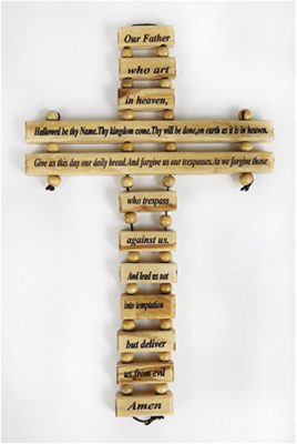 Olive Wood Cross Our Father in Heaven Prayer Home Protection English Holy Land