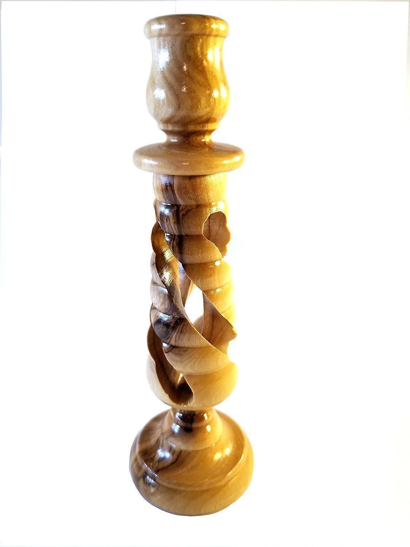 Handcrafted Spiral Olive Wood Candle Holder - Made in Bethlehem 00031