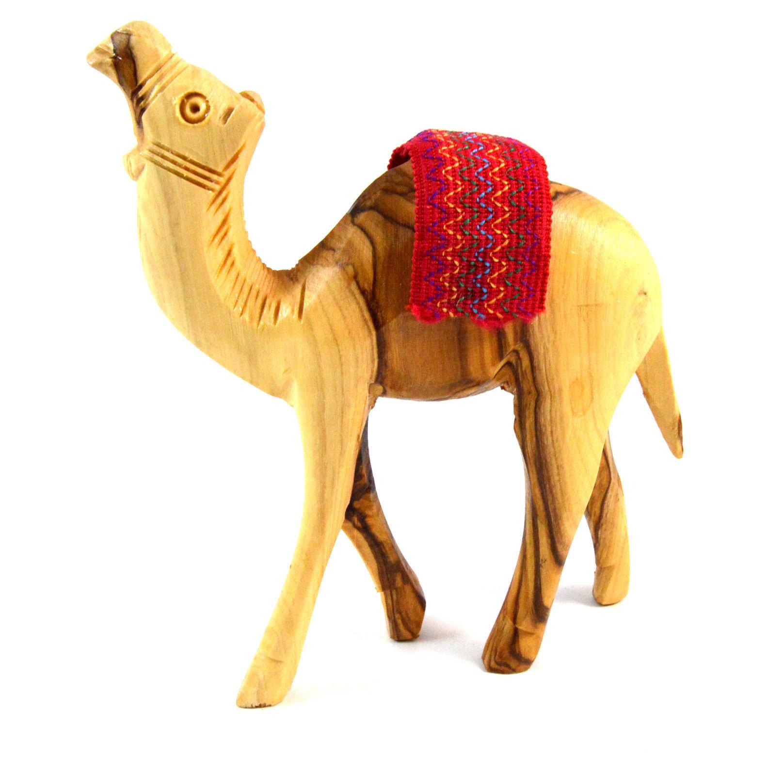 "Handcrafted 4"" Natural Olive Wood Camel 00041"