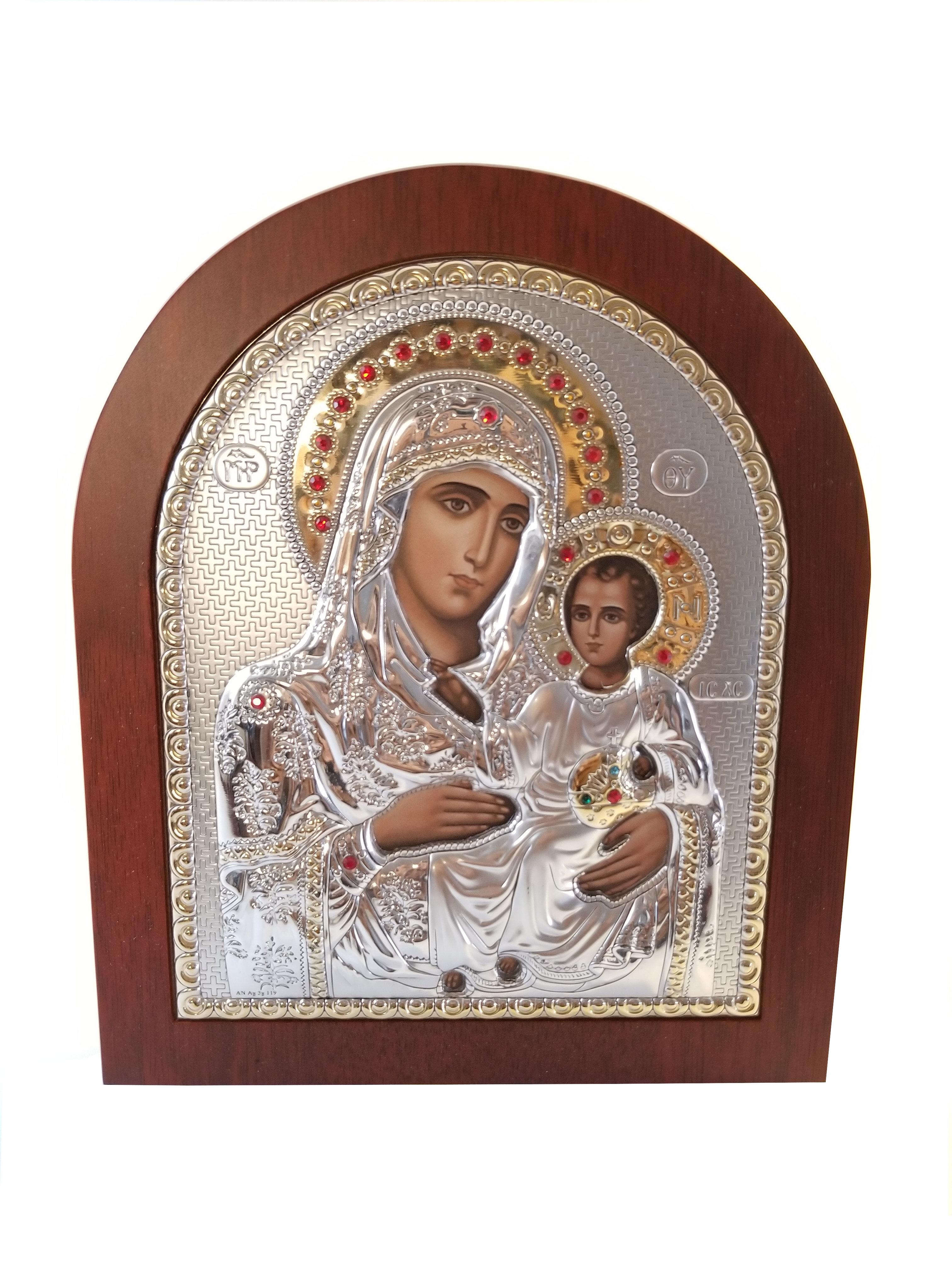 Catholic Silver 925′ Icon The Holy Family: Mary and Jesus 00044