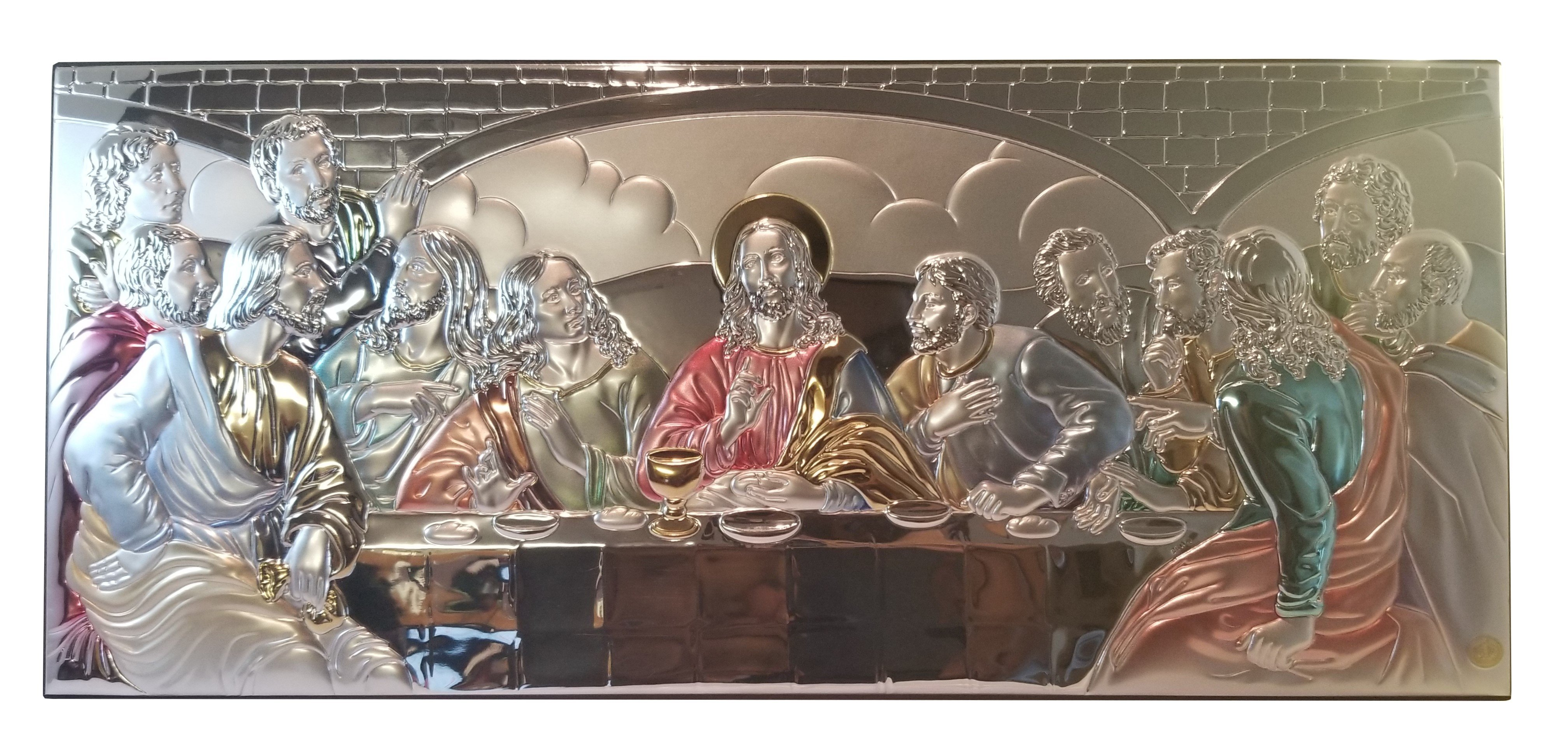 "The Last Supper of Jesus Colored Sterling Silver Icon Jerusalem Wall Plaque 12.6"" 00045"