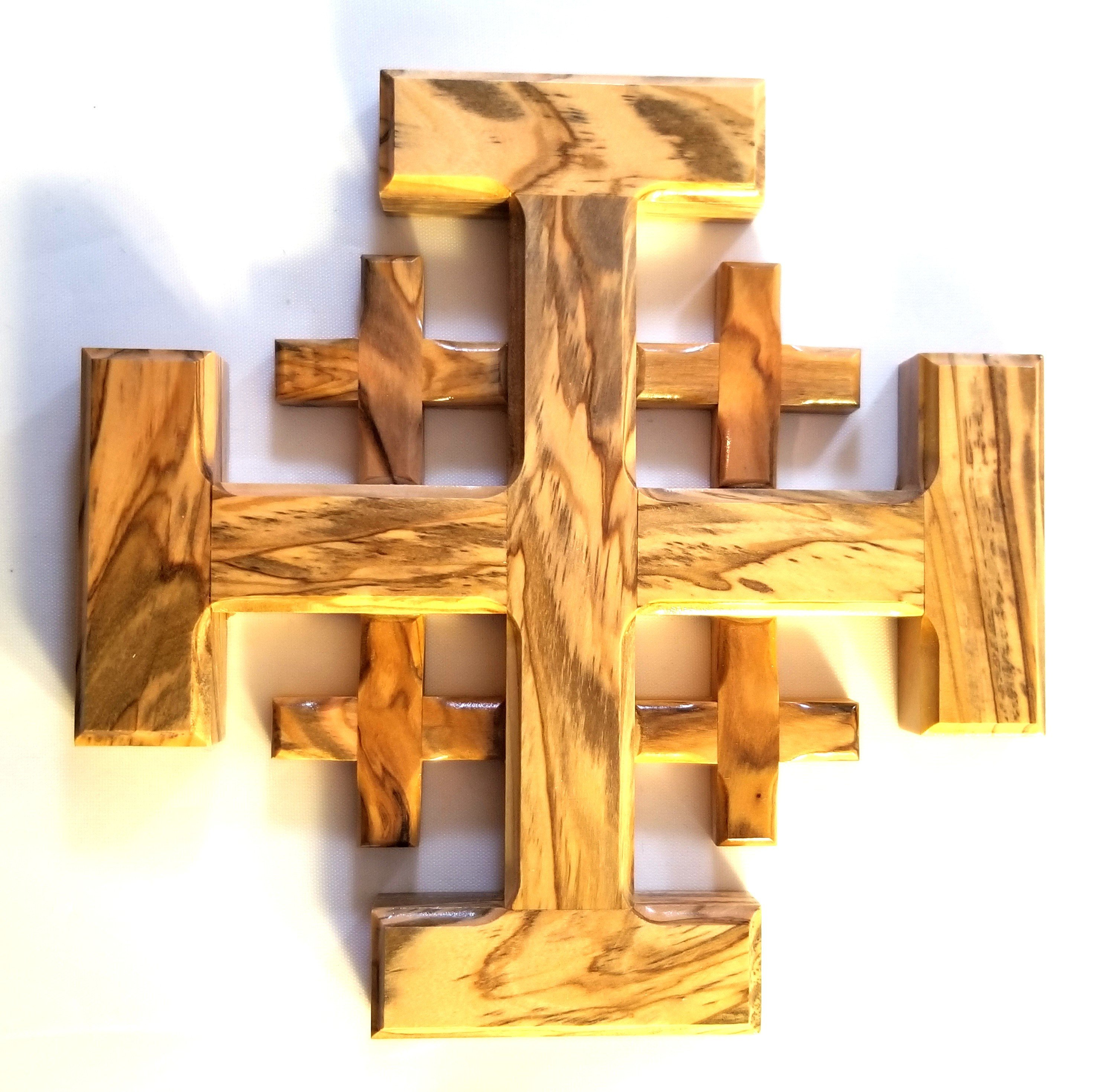 Handcrafted Olive Wood Jerusalem Cross from Bethlehem - Large 00048
