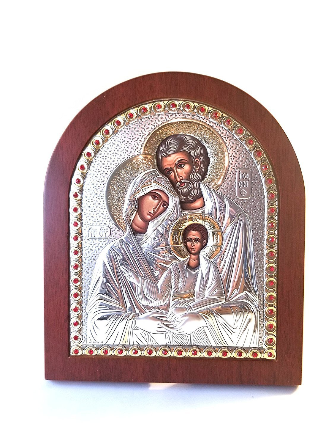 Catholic Silver 925′ Icon Gold plate. The Holy Family: Joesph, Mary, and Jesus … 00057