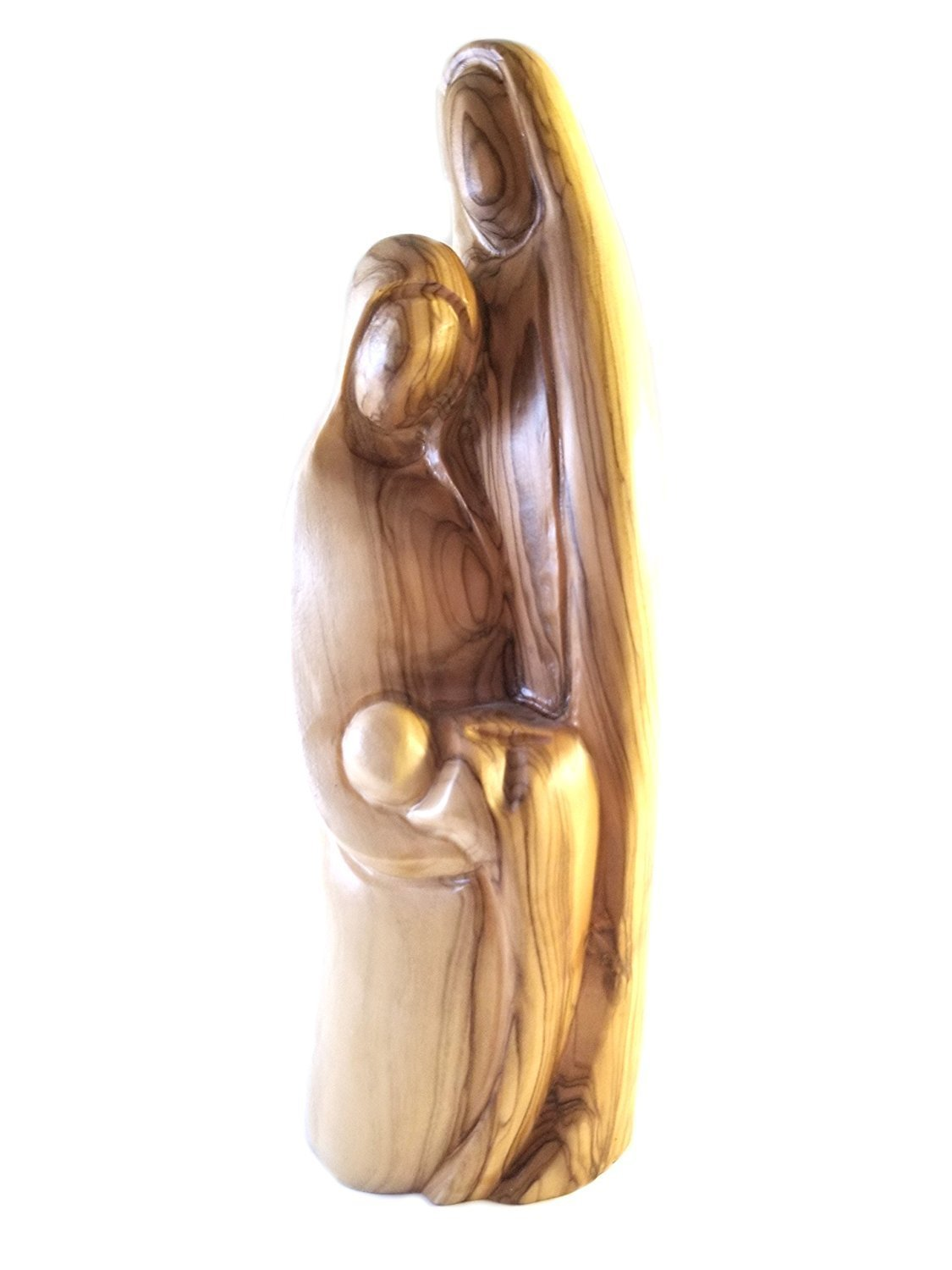 Holy Family Olive Wood Contemporary Style Statue from Bethlehem 00059
