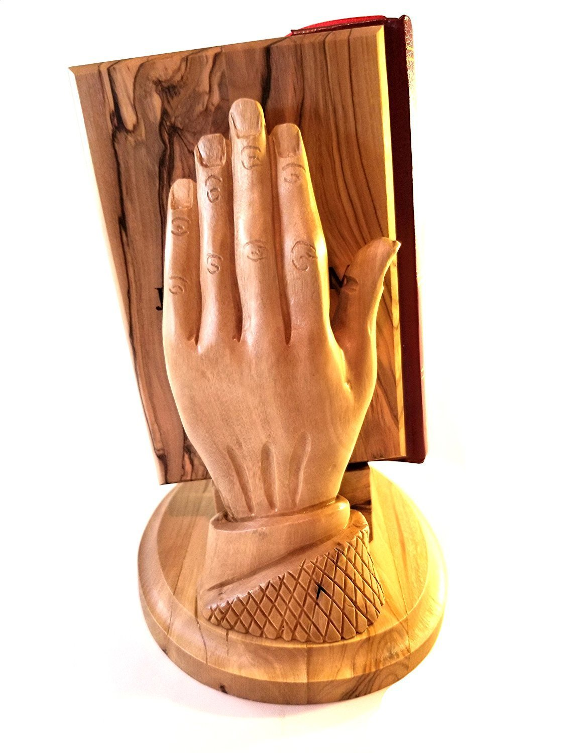 English KJV Holy Bible with Olive Wood Cover from Jerusalem, with Praying Hands Bible Holder