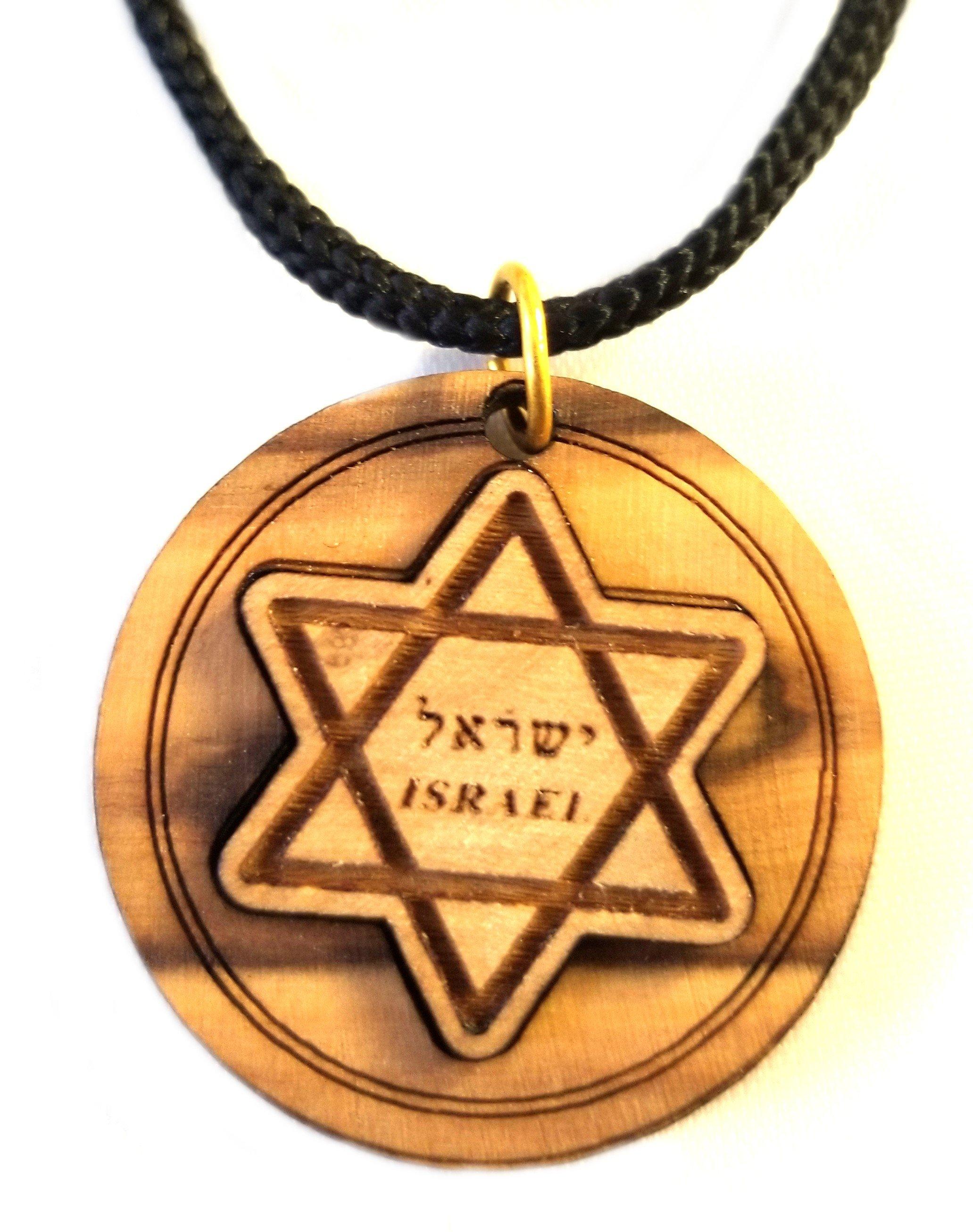 Multilayered Jewish Olive Wood Pendant 00065