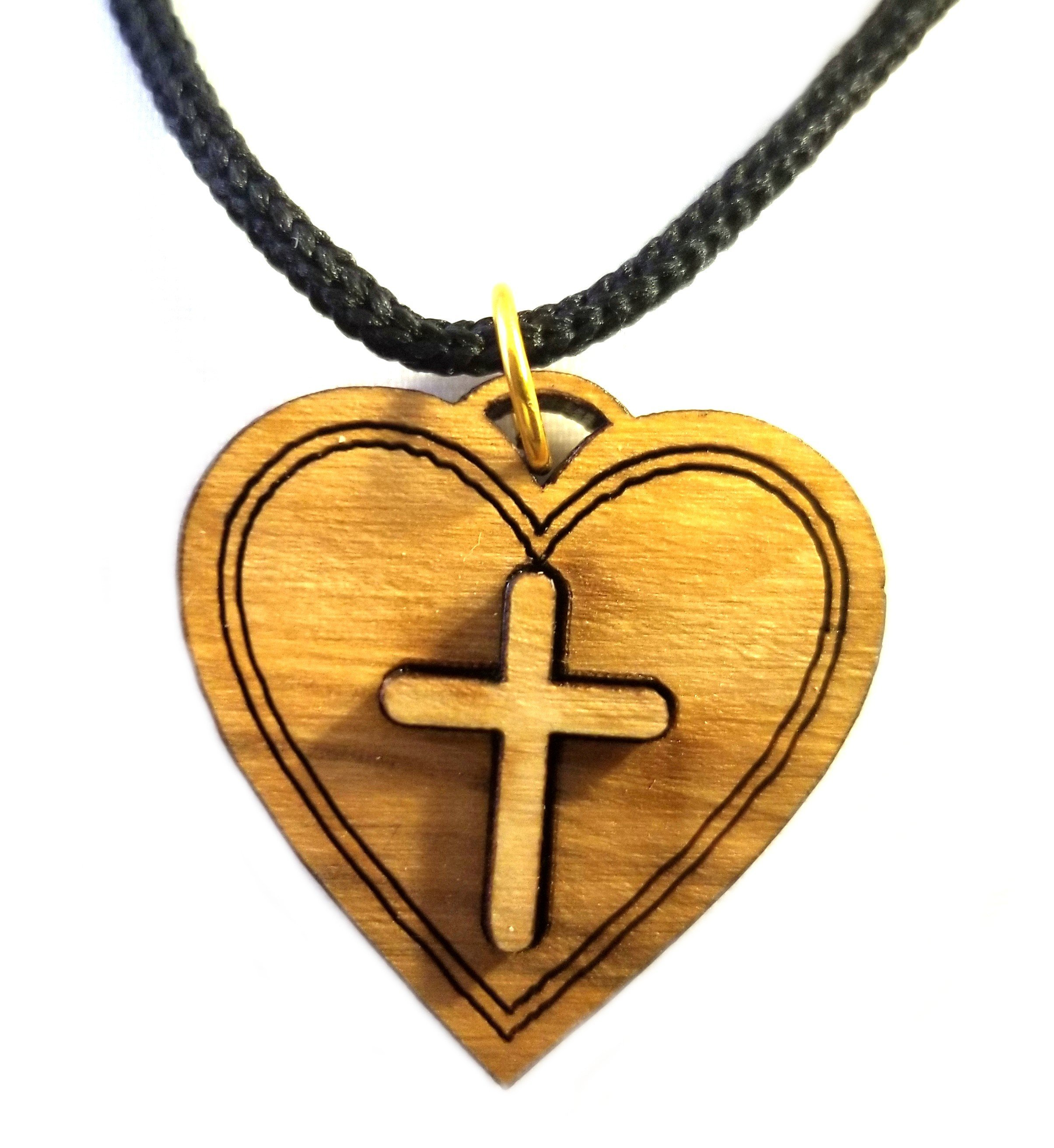 Multilayered Christian Heart Olive Wood Pendant 00066