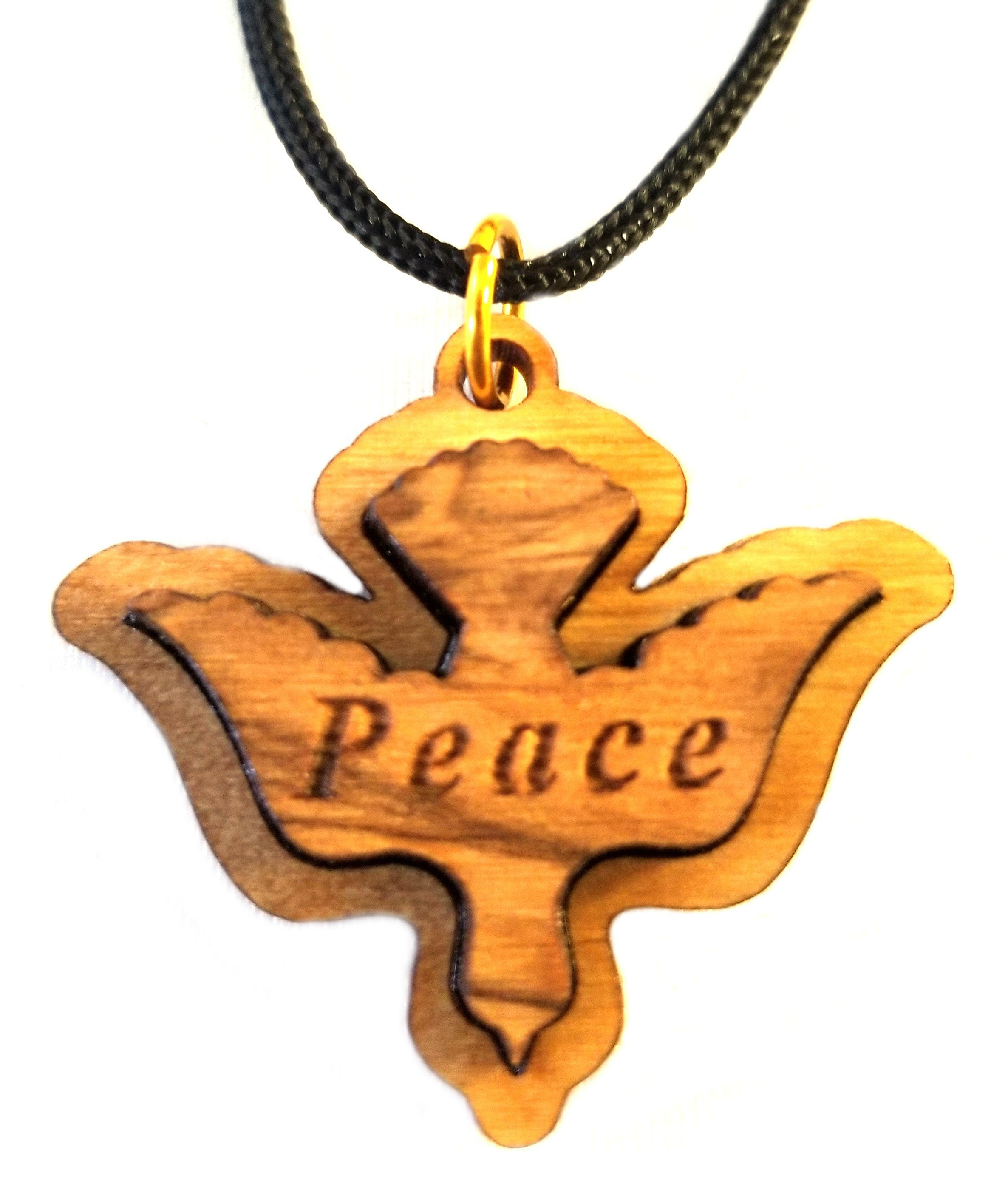 Multilayered Peace Dove Olive Wood Pendant 00067