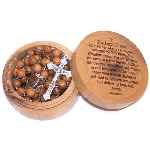 Olive Wood Lord's Prayer box with Rosary (7x3cm 0r 2.8 x 1.2 inches) 1002