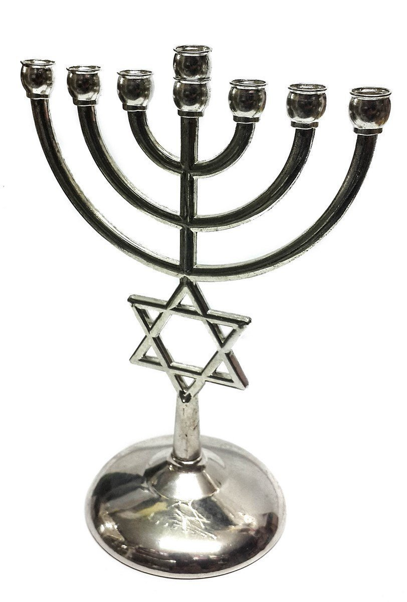 Silver plated Jewish Menorah 7 Branch Star of David 00075