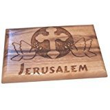 Magnet Olive wood plaque with Doves, Cross and Jerusalem 6x4cm 00082