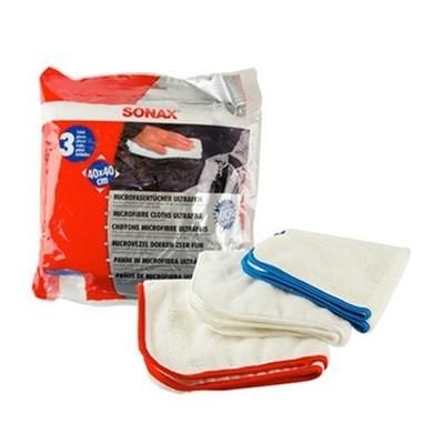 SONAX MICROFIBRE CLOTH ULTRAFINE Набор салфеток для нежной очистки (3шт) 40х40см