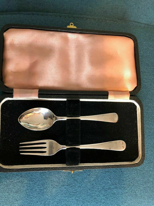 Antique solid silver Fork & Tea spoon 1942, Sheffield - James Dixon & Son