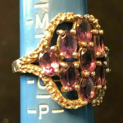 Vintage silver (.925) costume ring - circa 1960's with large cluster of stones