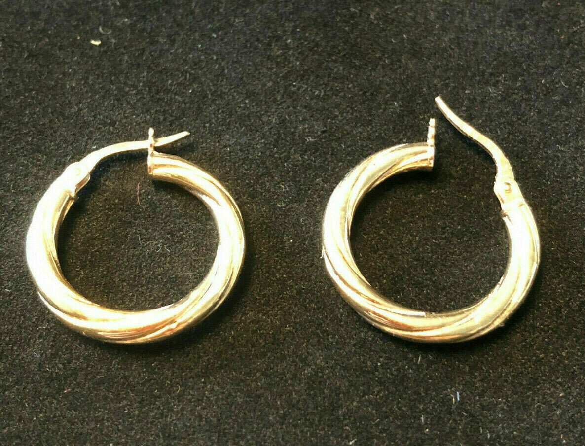 Vintage Italian 375 9ct gold hoop earrings - lovely twist design