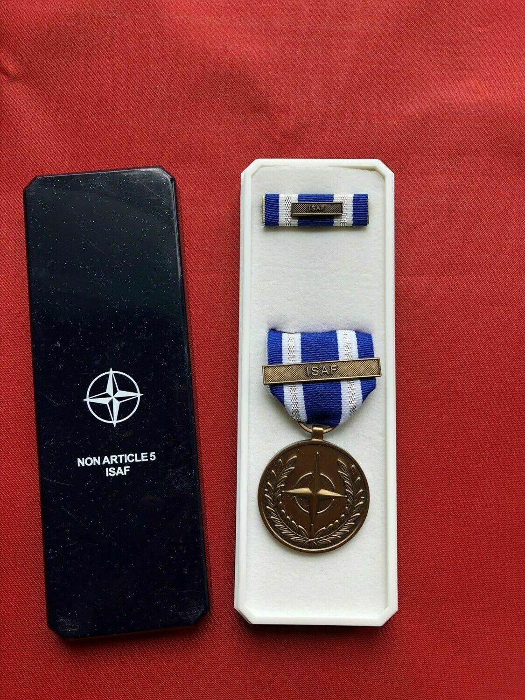 NATO ISAF Service Award full size medal with ribbon bar in NATO case