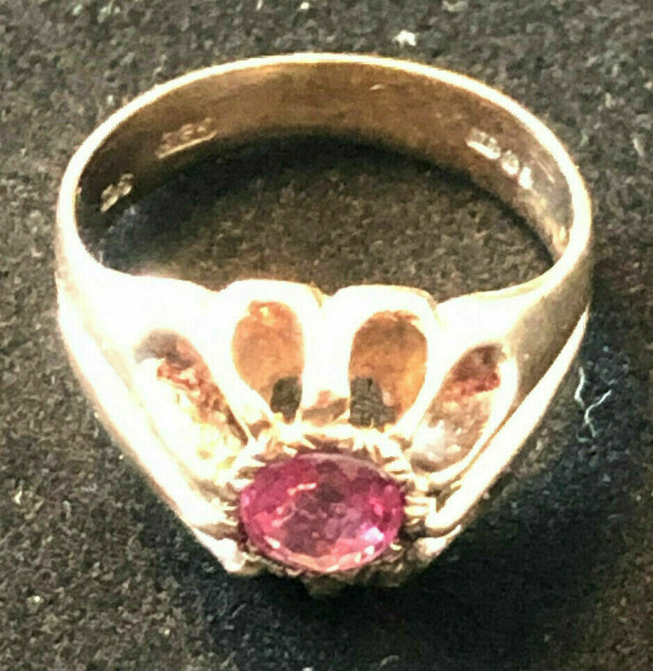 Vintage 9ct gold ring, Sheffield 1980 hallmark with large pink stone.