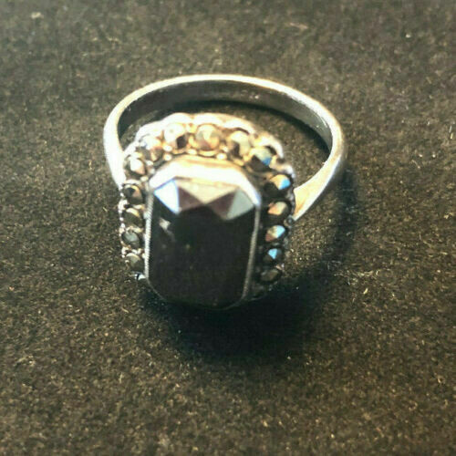 Vintage sterling silver ring, circa 1960's with large sapphire style stone