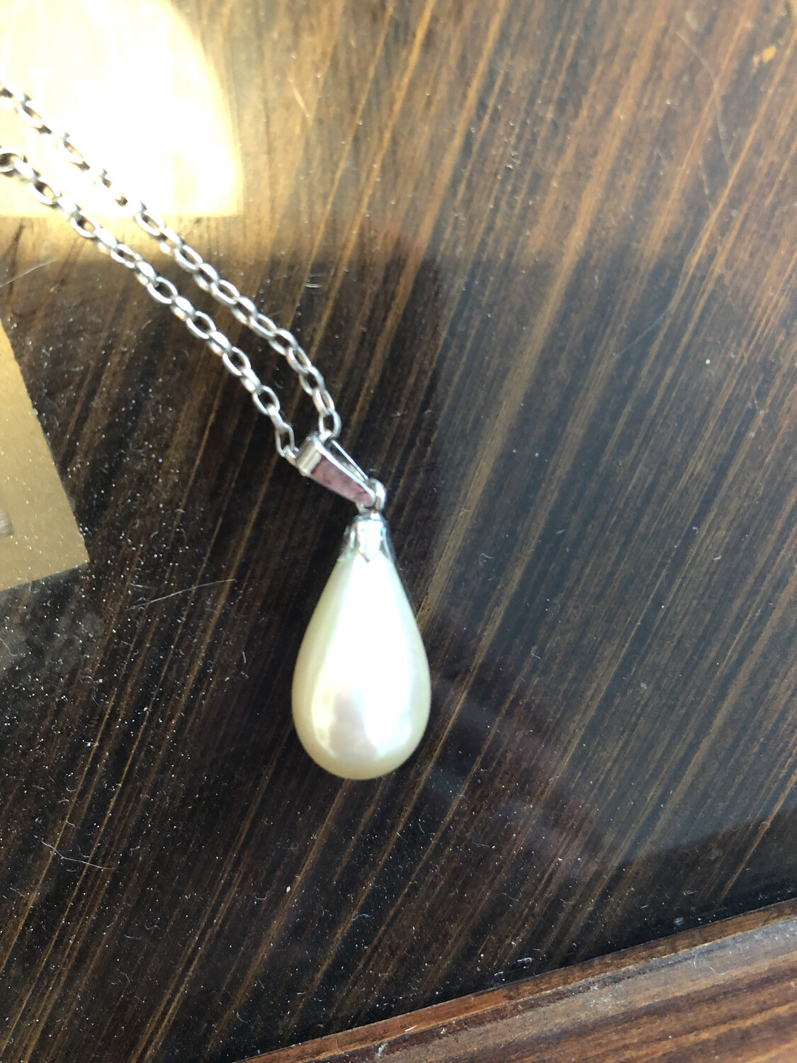 Pearl Drop Shaped Pendant On Silver .925 Chain And Silver Mount