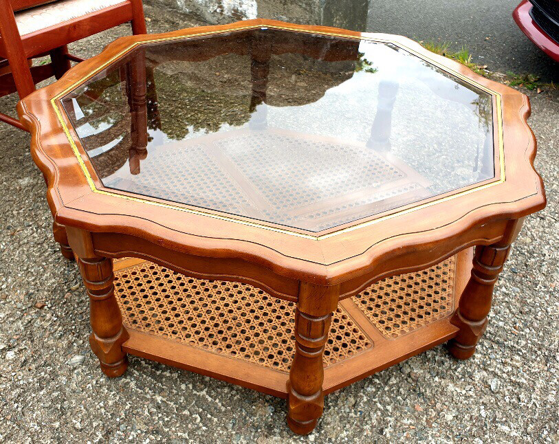 Octagonal Glass Topped Coffee/Occasional Table