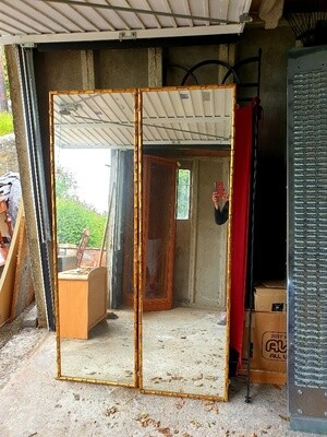 Large Bamboo Framed Gold/Gilt Mirrors - Beautiful & Very Large (Pair)