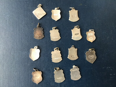 Collection Of 14 Solid Silver And Enamelled Souvenir Place Badges (Sold As A Set)
