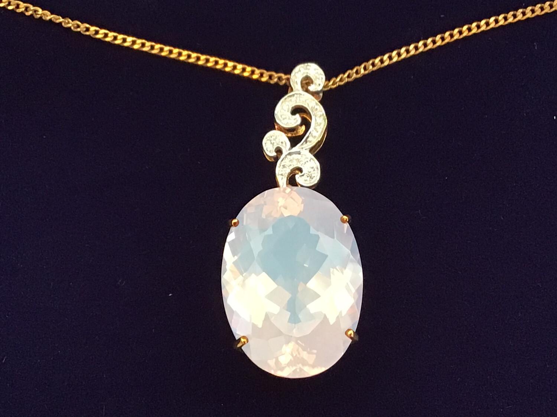9k Yellow Gold & Diamond Necklace with huge Lavender Quartz stone