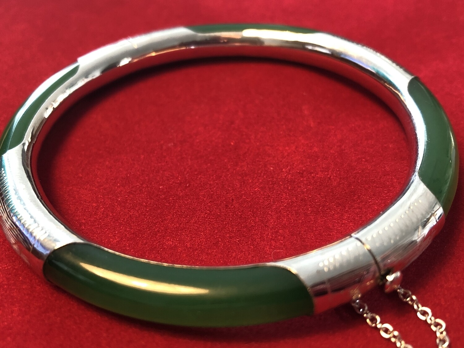 Silver and Jade Bangle/Bracelet - stunning
