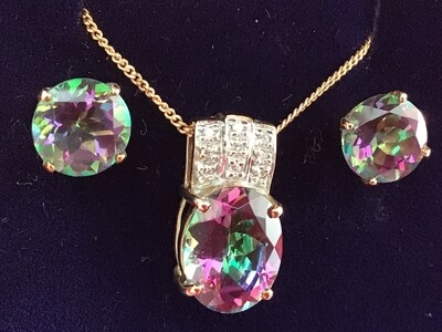 9k Gold Mystic Topaz & Diamond Necklace and earring set
