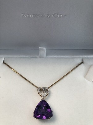 9k Yellow Gold & Diamond Amethyst - large stone and beautiful quality