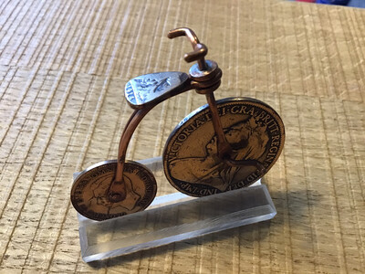 Penny Farthing Bicycle Made Of A 1901 Penny & A 1937 Farthing