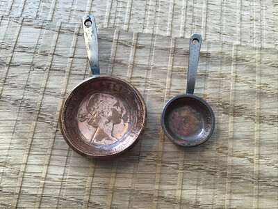 Coins Made Into Unique Set Of Miniature Pans (Penny And Farthing)