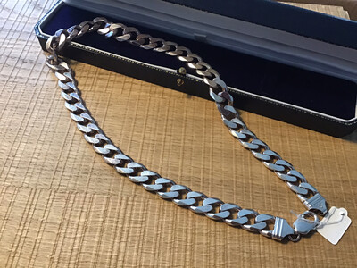 Heavy .925 Silver mans link chain Necklace - 122g of Silver