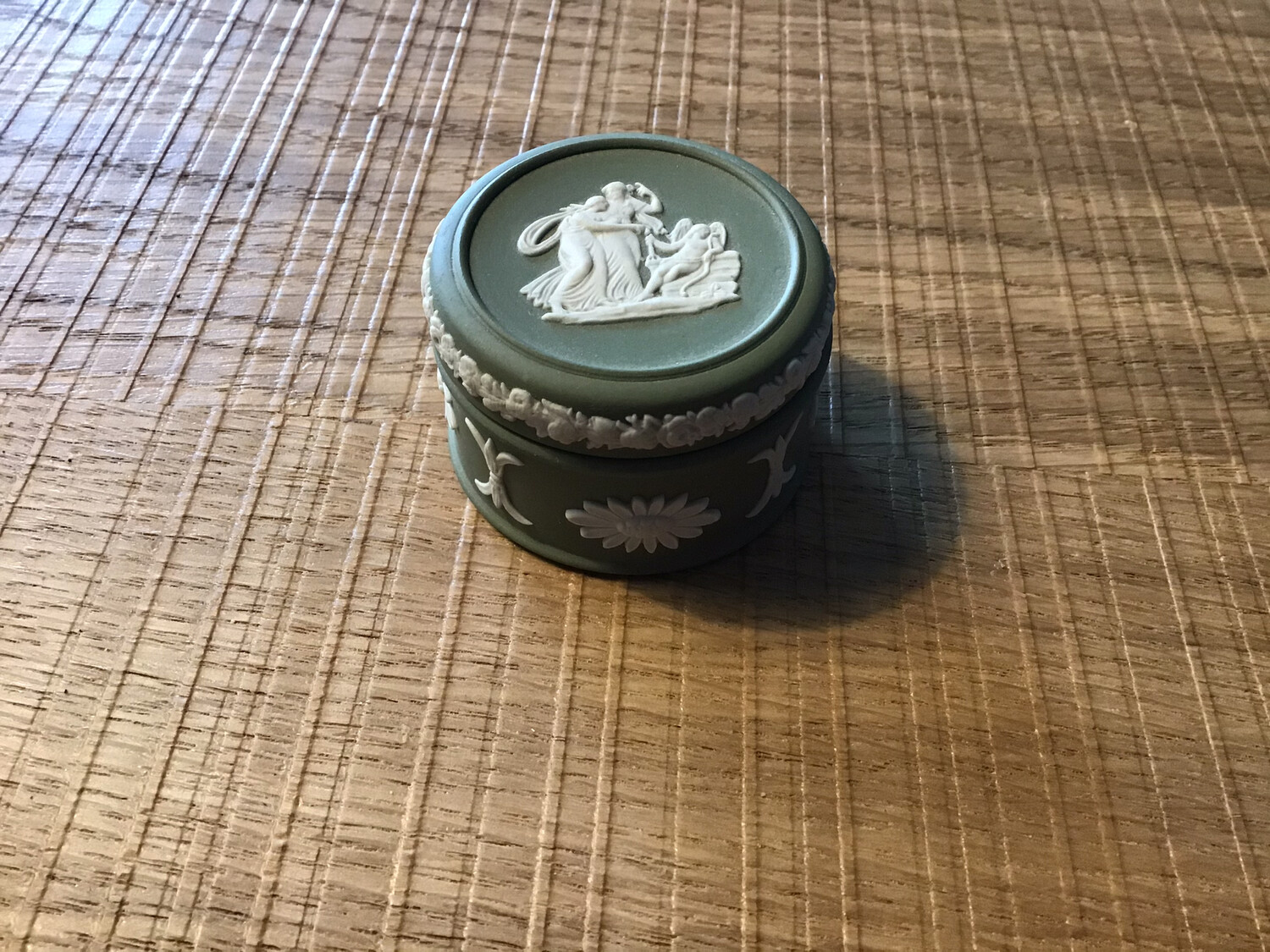 Sage Green Jasper Wedgewood Candy Box Round Small