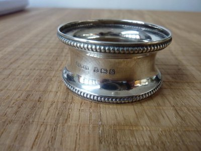 Silver Napkin Ring Beaded Edge (1917)
