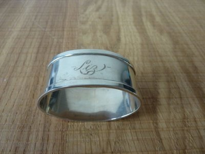 Solid Silver Oval Napkin Ring - 1969 - Engraved