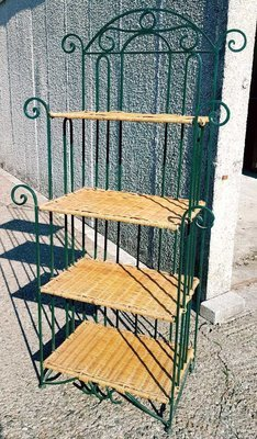 Wicker & Wrought Iron Shelf Unit