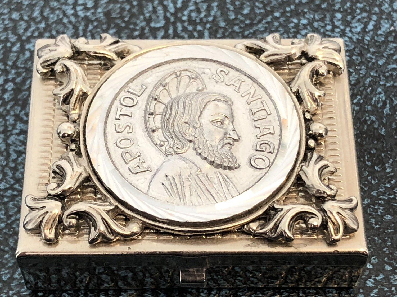 Metal Pill Box with Religious/Apostle figure