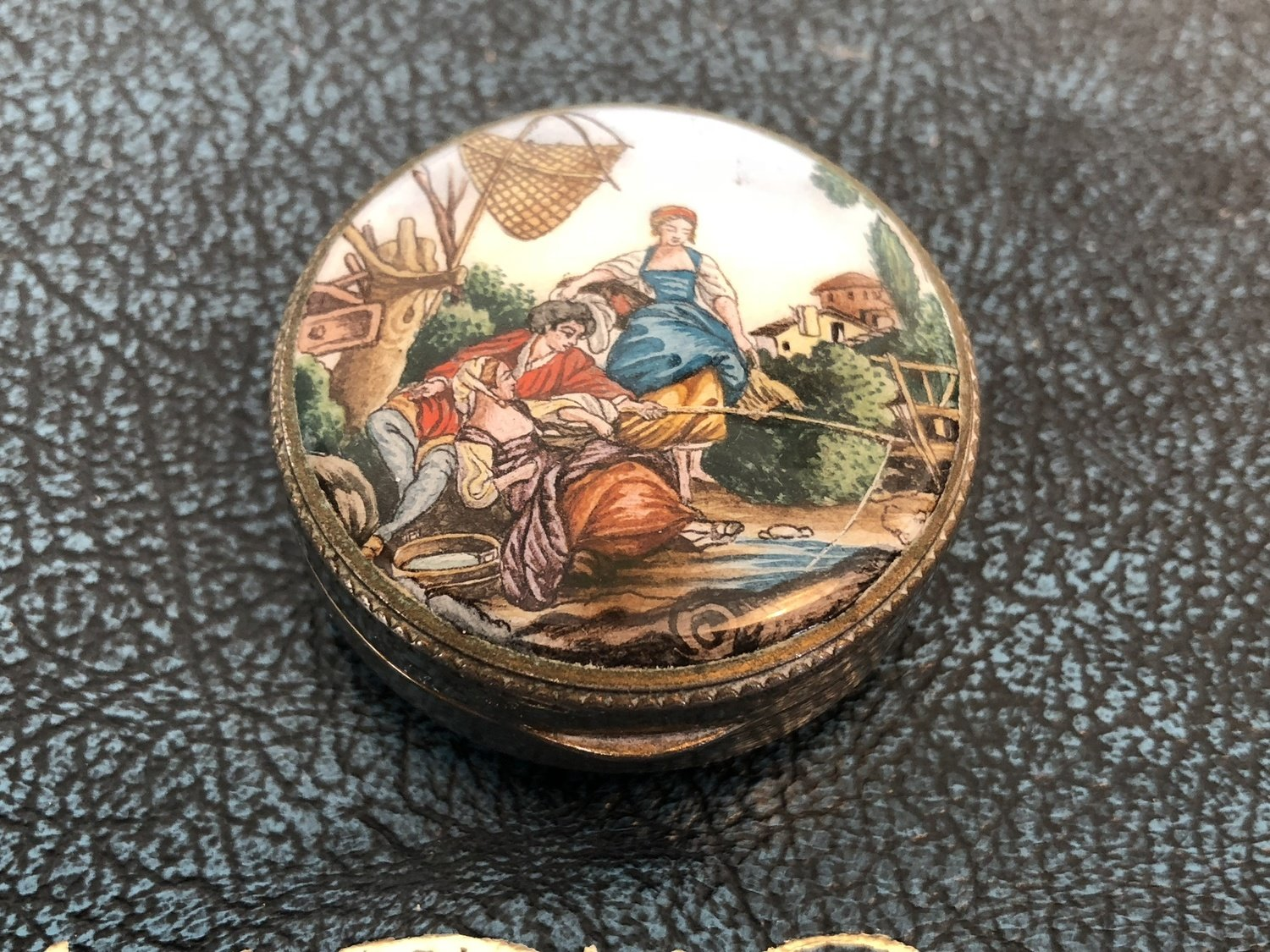 Porcelain Pill Box with Country Scene